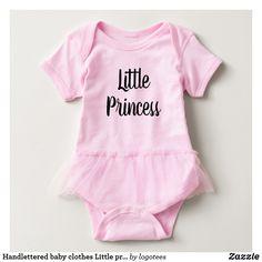 Handlettered baby clothes Little princess bodysuit for newborn girl.
