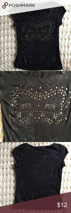 Rock & Republic embellished shirt Cool shirt in black with nickel and black studs. Like new. 60% cotton/40% modal. Hand wash/dry flat. Looks great with khaki pencil skirt also in my closet. Rock & Republic Tops Tees - Short Sleeve