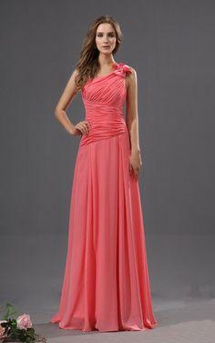 Chiffon Perlenbesetztes Sweep Zug anständiges Abiballkleid/ Festliche Kleid mit Blume