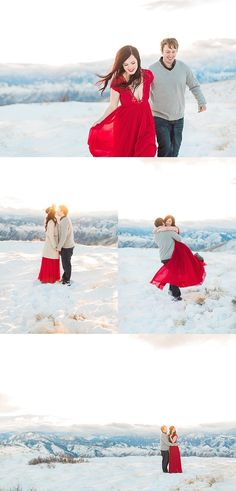 boho engagement photos at golden hour in the snow on top of a mountain in a red free people gown