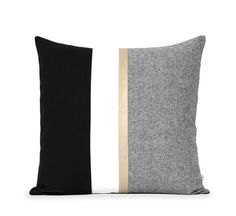 20x20 Metallic Gold Stripe Pillow Cover in Black and Cream - Modern Home Decor by JillianReneDecor - Chambray - Colorblock - Nautical Pillow
