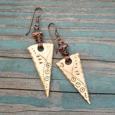 Tracks Polymer Clay Faux Bone Tribal Earrings by melissamanley, $29.00