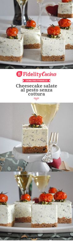 Cheesecake salate al pesto senza cottura Savoury Finger Food, Finger Foods, Holiday Appetizers, Appetizer Recipes, Savoury Recipes, Vegetarian Recipes, My Favorite Food, Favorite Recipes, Breakfast At Tiffanys