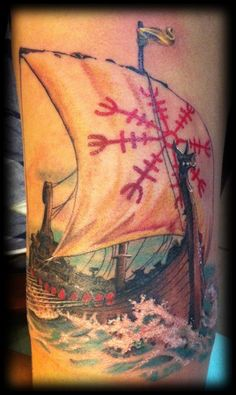 My longship tattoo by Brett J Barr