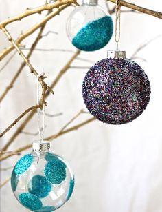 Add some glitter to plain glass ornaments.