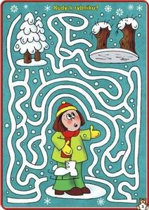 Untitled Document Fall Preschool Activities, Winter Activities For Kids, Christmas Maze, Printable Mazes, Mazes For Kids, Pre Writing, Four Seasons, Paper Dolls, Coloring Pages