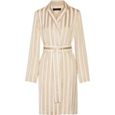 The Row Stervis belted striped jacquard coat ($1,740) ❤ liked on Polyvore featuring outerwear, coats, dresses, coats & jackets, jackets, belted coat, jacquard coat, striped coat, stripe coat and drape coat