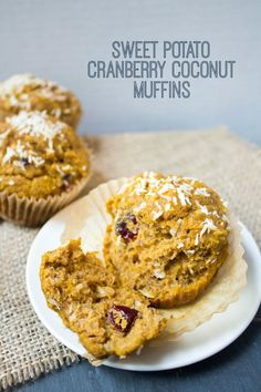 Sweet Potato Cranberry Coconut Muffins | wholesome, easy recipe via @fannetasticfood