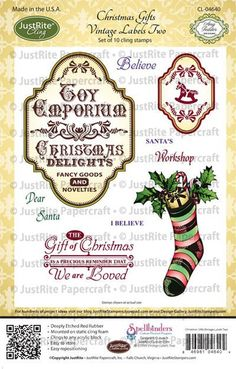 vintage christmas labels | Home > Products > Christmas Gifts Vintage Labels Two Cling Stamps