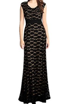 Women's Long Prom Lace Formal Evening Party Gown Bridesmaid Maxi Lined Dress (M ( US 8-10 ), Black)