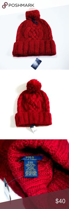 Ralph Lauren Pom Pom-Beanie Brand new with tags. Chunky cable knit. Never worn-bc too small on me (I have a larger head than most) 🤣 Perfect beanie for the Fall! Fabric content:  80% Acryllic /10% Mohair / 10% Wool Measurements: Approximately 20 inches around base of fold- un-stretched, & about 25 inches stretched. Polo by Ralph Lauren Accessories Hats