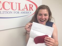 Secular #Craftivist Kim DiLoreto sent in her #KnitABrick today to help us rebuild the wall of separation! Secular Coalition Outreach Coordinator Sarah Levin could not be more excited! Thanks Kim! #JoinTheDissent #GetAnotherHobby