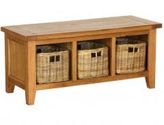 Sherwood Rustic Oak Storage Bench With 3 Baskets