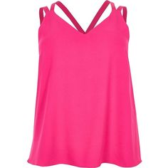 River Island Plus pink cross back double strap cami top ($32) ❤ liked on Polyvore featuring tops, shirts, cami / sleeveless tops, pink, women, plus size tanks, v neck tank top, sleeveless shirts, plus size camisoles and v neck cami