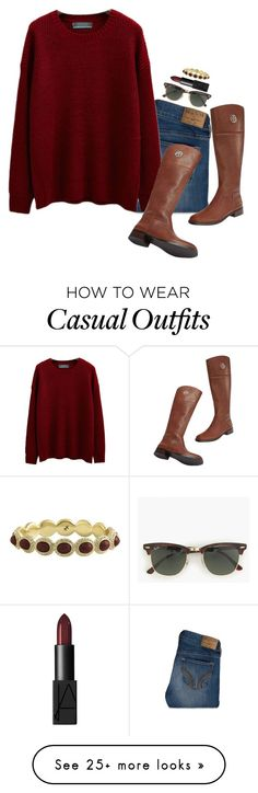 """casual cute winter outfit"" by sassy-and-southern on Polyvore featuring Hollister Co., Tory Burch, J.Crew, Karen Kane, NARS Cosmetics and sassysouthernwinter"