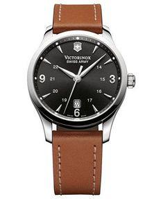 Victorinox Swiss Army Watch, Men's Swiss Alliance Brown Leather Strap 40mm 241475 | macys.com