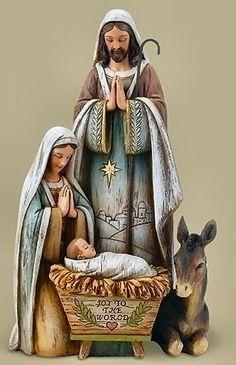 Holy Family Nativity Scene Figurine Says Joy to the world on Manger