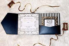 Tutorial: Art Deco Invitation Art Deco Invitations, Unique Wedding Invitations, Patriotic Party, Stationery, Party Ideas, Ink, Water, Design, Invitations