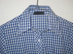 Vintage Blue CHECKED Gingham SHIRT Button Up by curiouskitty, $14.00