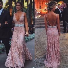 blush pink prom Dresses,lace prom dress,long evening gowns,lace prom dress