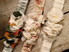 DIY - Sweet  Skinny Ruffled Headband by Flamingo Toes *would like to try sewing to a wide headband since the wrap kind never stay on my head... could then put veil on a comb  attach right behind during ceremony or just use flower part in conjunction with veil