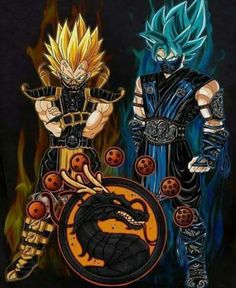 Goku and Vegeta as Scorpion & Subzero. These coloring pages is for all those who are fans of the coloring and dragon ball z.Go ahead and relieve stress coloring dragon ball z pages. Dragon Ball Gt, Poster Superman, Mortal Kombat Art, Sub Zero Mortal Kombat, Scorpion Mortal Kombat, Animes Wallpapers, Anime Art, Artwork, Crossover
