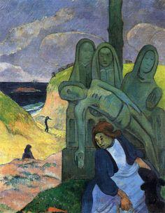 GROEN: Paul Gauguin schilderde deze 'Groene Christus' (1889) in een reeks van meerdere religieuze voorstellingen. Tijdens zijn verblijf in Bretagne werd hij beïnvloed door de oude stenen kruisigingsvoorstellingen die hij daar zag. Het onderwerp van zijn 'Groene Christus' is niet religieus, maar beschrijft juist de invloed van het geloof op de Bretonse vrouw die rechtsonder te zien is.