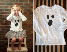 ghost freezer paper stencil shirt tutorial on aliceandlois.com #halloween #DIY #tutorial