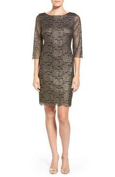 Ivanka Trump Three Quarter Sleeve Metallic Lace Sheath Dress available at #Nordstrom