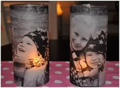 Use votive candle holders and vellum. Print a picture on the vellum and let it dry. Then cut it to fit the candle holder and secure the picture with double sided tape.