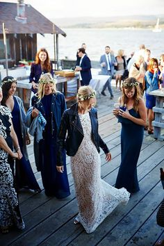 This Is The Most Dreamy Boathouse Wedding You've Ever Seen! Rocker Wedding, Boho Wedding, Dream Wedding, Wedding Black, Wedding Crowns, Wedding Trends, Wedding Styles, Wedding Ideas, Wedding Jacket
