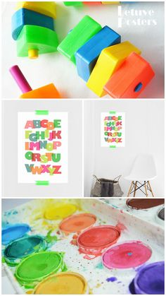 COLOURFUL EDUCATIONAL ALPHABET  POSTER.  Simple ABC Printable Wall Art for School, Kids Room or Nursery by LetuvePosters.