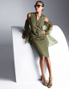 This dress is made of a top quality blend of silk and linen that has a wonderful texture and displays a fine sheen. A classy sleeveless style with a V-cut. Olive Green Outfit, Madeleine Fashion, Evening Dresses, Summer Dresses, Khaki Dress, Color Khaki, V Cuts, Dress Backs, Knit Dress