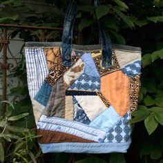 Crazy Quilt tote, Large Patchwork tote, Quilted Repurposed Linen tote by HobbsHillQuilts on Etsy https://www.etsy.com/listing/249737733/crazy-quilt-tote-large-patchwork-tote