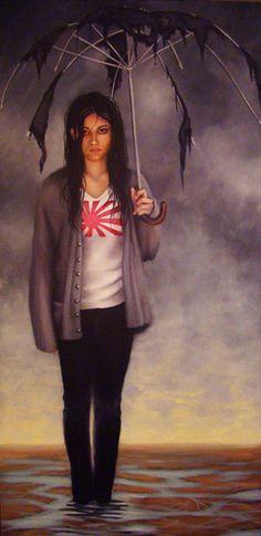 "Painting : ""Meltdown"" (Original art by Christina Ramos) Umbrella Art, Under My Umbrella, Wild Plum Tree, Christina Ramos, Parasols, Umbrellas, Original Art, Original Paintings, Female"