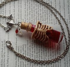Death Poison Vial Bones Rib Cage Bottle Morbid Gore Red Blood Gothic Scary Bottle Necklace || Jewelry, Necklace, Death, Bones, Blood by DreamAddict on Etsy
