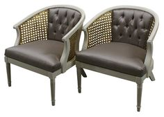 Pair of White Wood French Bergeres Arm Chairs with Gold Caning and Gray Silk Upholstery and Tuftin