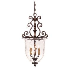St. Laurence New Tortoise Shell With Silver Three Light Small Pendant Savoy House Bell/Urn
