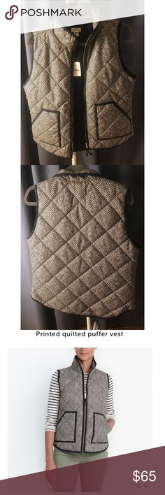 J. Crew Herringbone Vest NWT! Never worn Jcrew quilted vest in a black and white herringbone pattern. Great neutral layering piece that will transition well into the spring! J. Crew Factory Jackets & Coats Vests