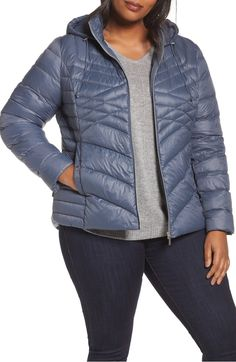 Main Image - Halogen® Hooded Down Blend Puffer Jacket (Plus Size)