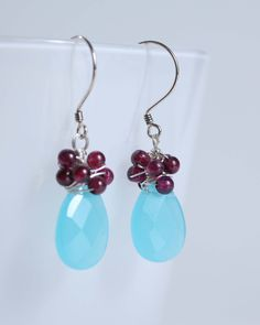 Sea blue chalcedony earrings sterling silver one of a by Phaness