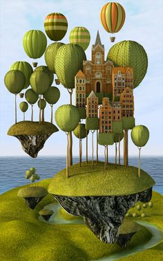 ♨ Intriguing Images ♨ unusual art photographs, paintings & illustrations - city in the sky