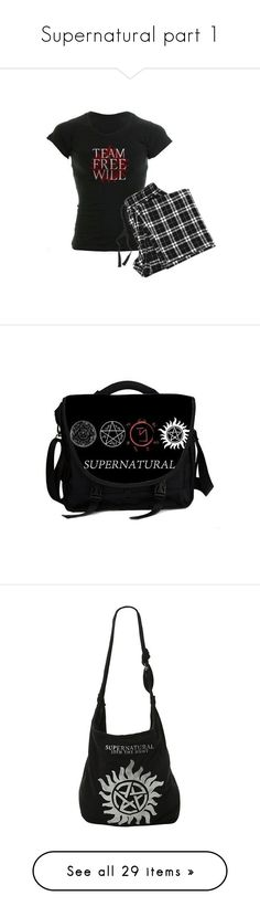 """Supernatural part 1"" by blackrosenite ❤ liked on Polyvore featuring intimates, sleepwear, pajamas, bags, black bag, laptop bag, courier bag, black laptop messenger bag, messenger bag and handbags"