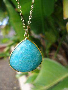 Amazonite Drop Necklace by WafflesandHoney on Etsy, $62.00