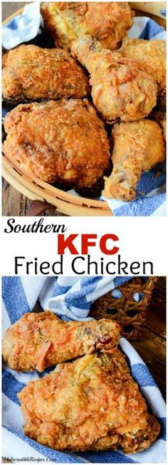 Learn how to make fried chicken from one of more than 20 of the best fried chicken recipes. We have buttermilk, garlic, southern fried chicken and more. Poulet Kentucky, Pollo Frito Kfc, Turkey Recipes, Dinner Recipes, Game Recipes, Fingerfood Party, Fried Chicken Recipes, Baked Chicken, Crispy Fried Chicken