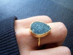 SALE WAS 80.00 Druzy Ring Drusy Ring Gold Ring by alittledazzle