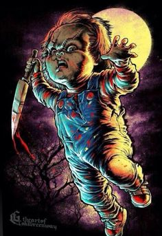 Chucky by Coki Greenway Horror Posters, Horror Icons, Arte Horror, Arte Bob Marley, Chucky Movies, Real Life Horror Stories, Motion Images, Horror Movie Characters, Slasher Movies