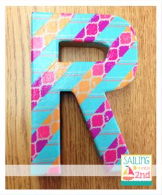 Decorate your classroom or home with this washi tape letter idea! #diy #decorate