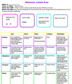 Things on the Go Lesson Plan For a Week (Free Download)   Life for the Penney Wise