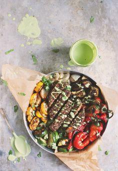 Fajita Veggie Burger Bowls with Cilantro Lime Cashew Cream | With Food + Love